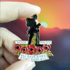 neverforget, Jewelry, poppysoldier, soldierenamelpin