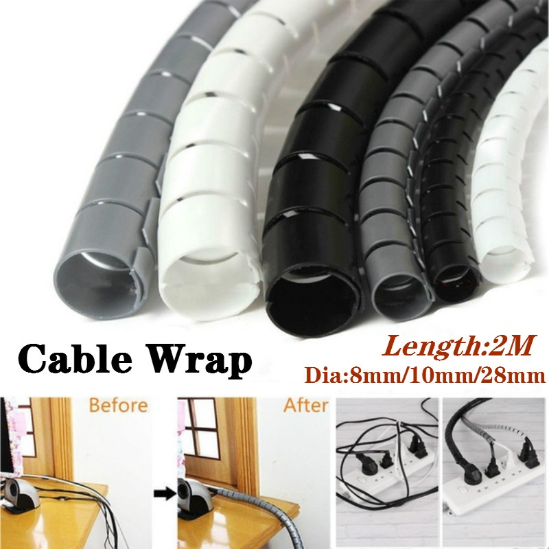 Spiral Tube Cable Wire Wrap Computer Cord Management 25mmx2M White by Uptell