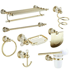 Brass, golden, Baño, Bathroom Accessories