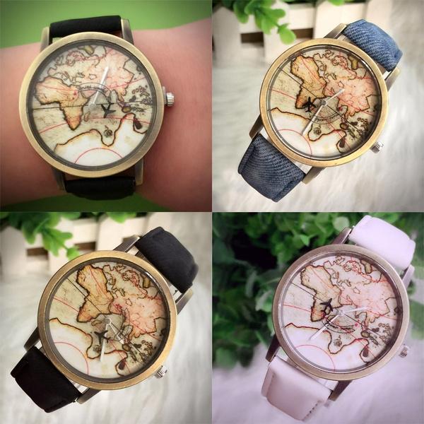 Map, quartz, analogwatche, Leather Strap Watches