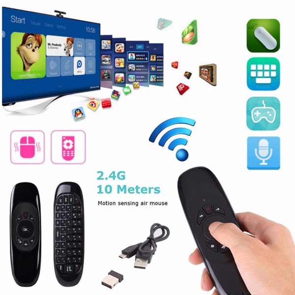 2.4GHz Wireless Air Mouse Mini Keyboard Remote Control With Mic for Smart TV PC