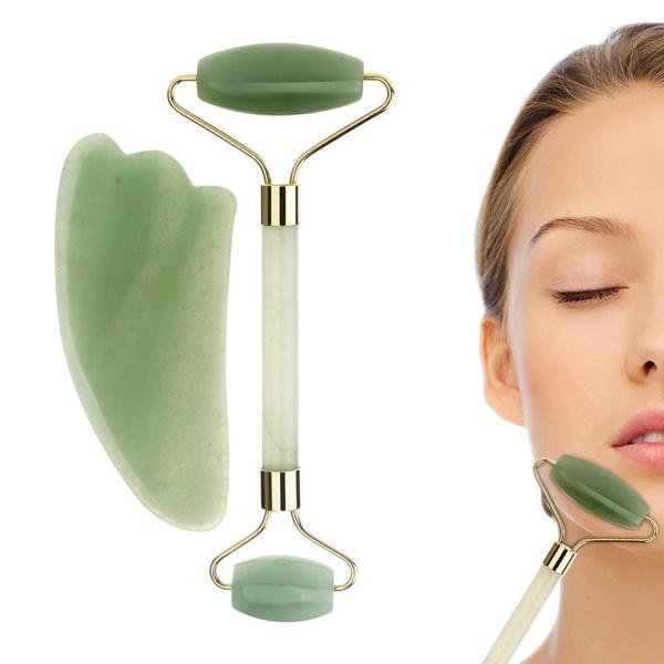 Beauty, facialmassager, jaderoller, jade