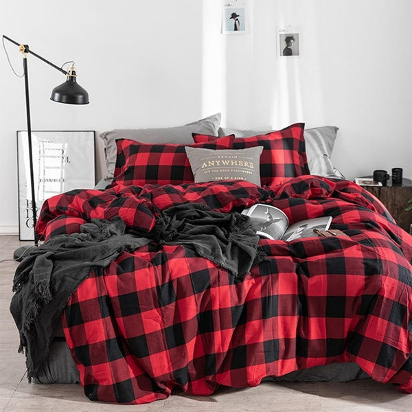 Red Amp Black Plaid Duvet Cover, Red And Black Plaid Queen Bedding