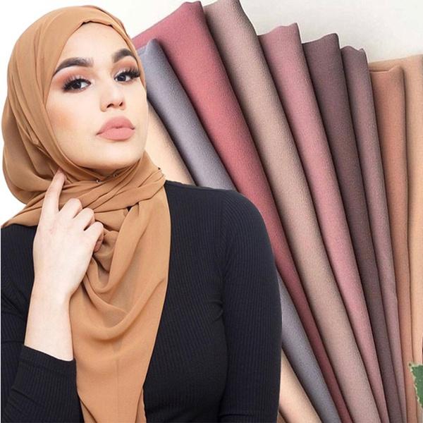 Women Plain Bubble Chiffon Scarf Hijab Wrap Printe Solid Color Shawls Headband Popular Hijab Muslim Scarves Wish
