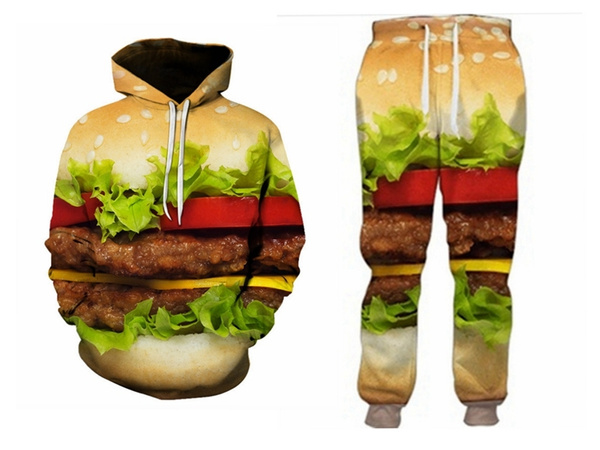 3D hoodies, pants, Casual pants, burger