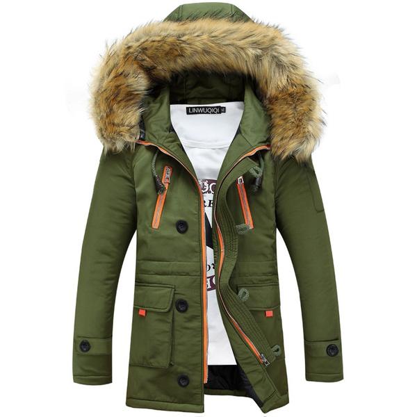 Thicken, hooded, fur, Outerwear