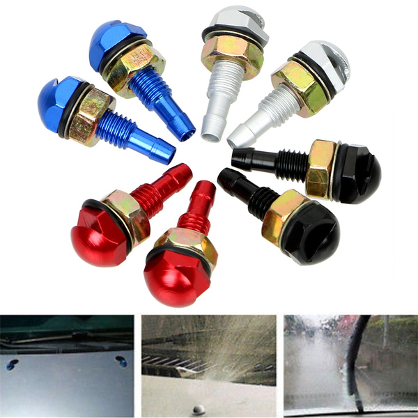 2pcs Universal Front Windshield Washer Nozzles Aluminum Alloy Windshield Wiper Washer Sprayer Nozzle Replacement for Most Vehicles Blue