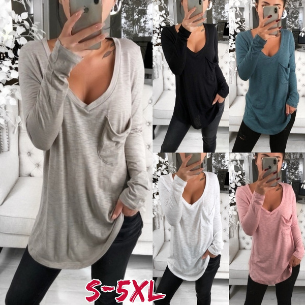 Deep V-Neck, Summer, Plus Size, Cotton T Shirt