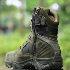 combat boots, Outdoor, Leather Boots, Zip