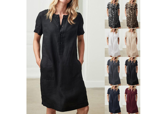 Womens Cotton Linen Dress Loose Pleated Flax Dresses Plus Size Tshirt Dress Summer Casual Short Sleeve Knee Length Flowy Midi Linen Dress Soft Breathable Boho Sundress