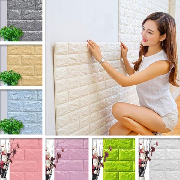 decoration, Wallpaper, selfsticking, brickpattern