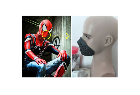 Spider-man Breathing Mouth Shell Mask Soft Red Rubber Spiderman Half Faceshell