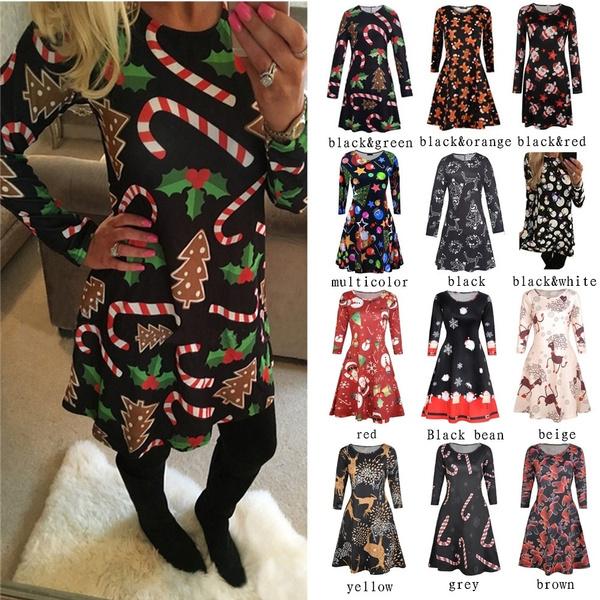 Swing dress, printeddre, Christmas, Sleeve