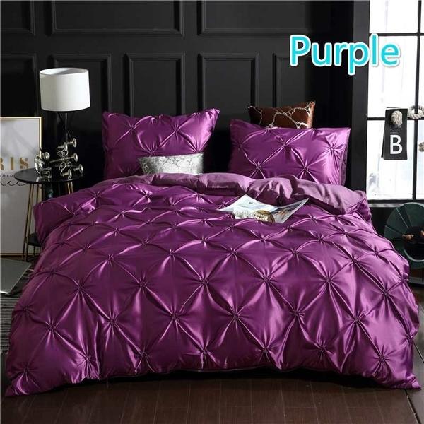 Flowers, Beds, silkbeddingset, purple