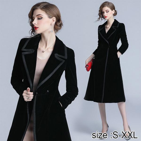 Black Velvet Trench Coat For Women, Velvet Trench Coat For Ladies