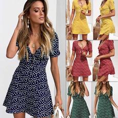 Summer, short sleeve dress, V-neck, Dress
