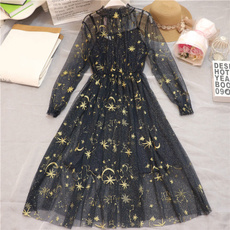 Star, Lace, Long Sleeve, sheer dress