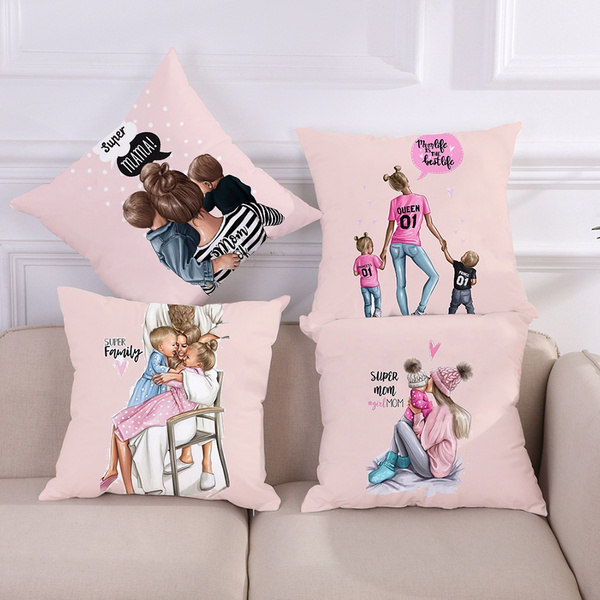 Fashion Black Brown Hair Baby Mom Girl Queen Pillow Case 45 45 Polyester Home Throw Pillows Soft Decorative Cushion Cover For Sofa Chair Pillow Cover Wish