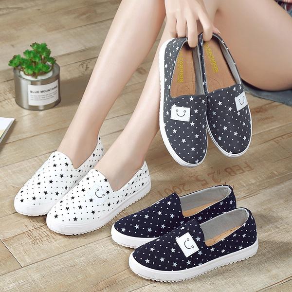 Women Fashion Stars Printing Slip on Shoes Girls Flats Canvas Shoes Size  35-41 | Wish