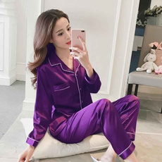 Plus Size, Sleeve, sleepwearset, silkpajama