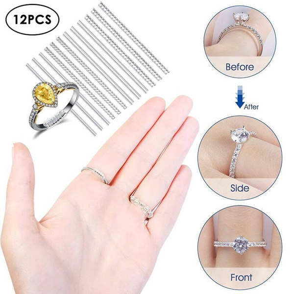Invisible Clear Ring Sizer with 6 Sizes Clear Ring Sizer Resizer 12Pcs Ring Size Adjuster for Loose Rings