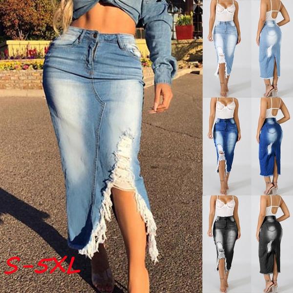 Fashion Skirts, Fashion, high waist, rippedskirt