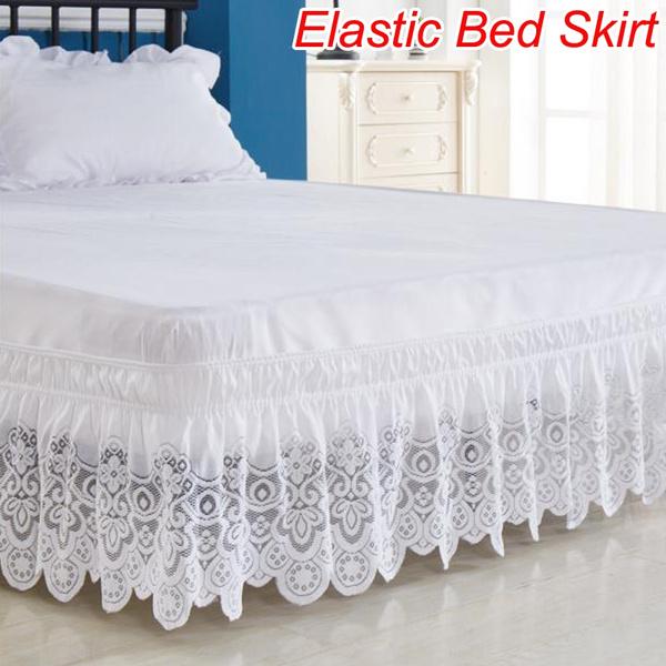 King, bedskirtking, Elastic, lacebedskirt
