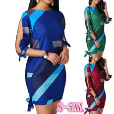 Summer, Necks, color block dress, plus size dress