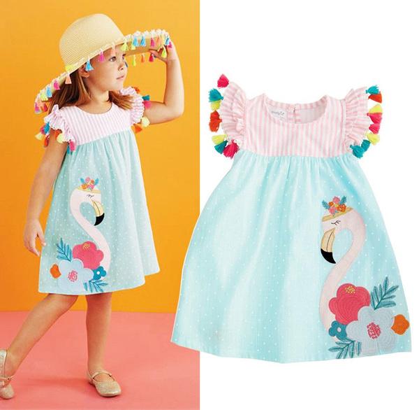 Summer, flamingo, kidsgirl, Dress