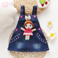denim dress, Summer, Vest, kids clothes