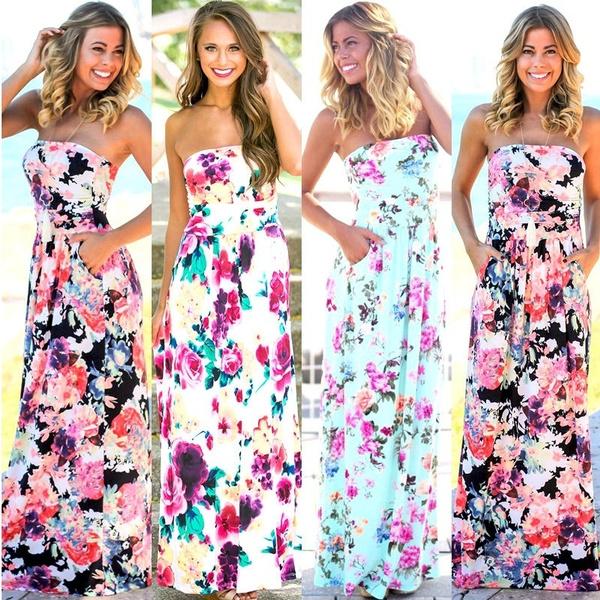 Summer, Floral print, long dress, Dress