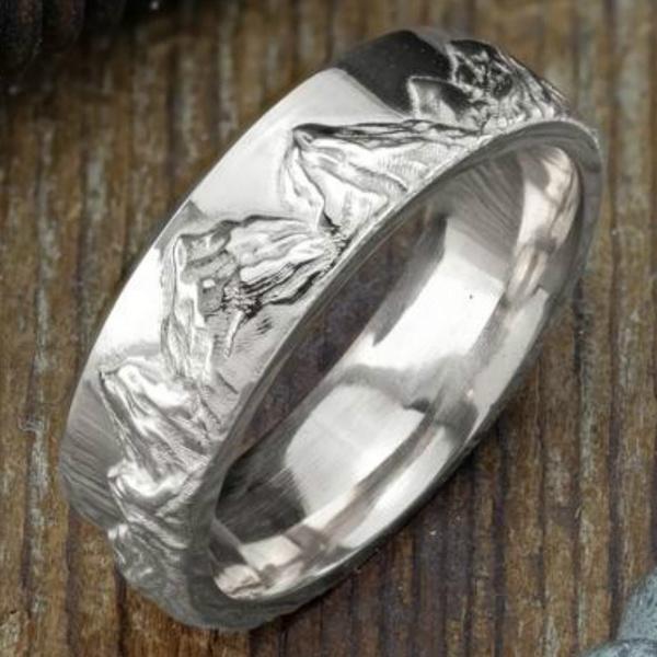 platinum, Mountain, 14k white, Simple