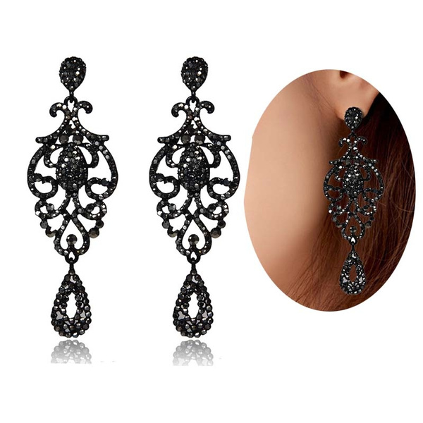 blackrhinestone, Jewelry, black, Earring