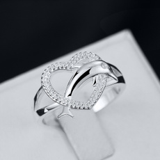 Sterling, dolphinring, crystal ring, Jewelry