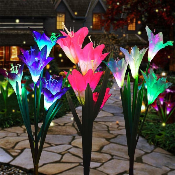 2 Pack Color-Changing Solar Lamp Outdoor Flowers Fairy Lights Patio Garden Decor