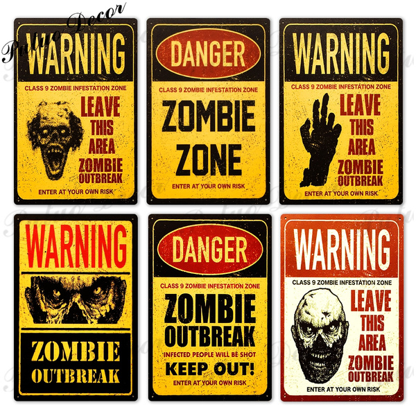 Putuo Warning Zombie Zone Tin Signs Metal Signs Posters For Room Door Bar Garage Man Cave Home House Wall Decor 8 X 12 Inches Wish