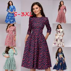 Swing dress, short sleeve dress, Print Dresses, Necks