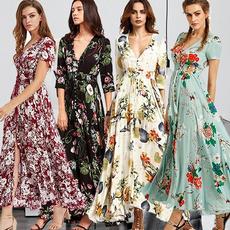 Plus Size, Print Dresses, Fashion, long dress