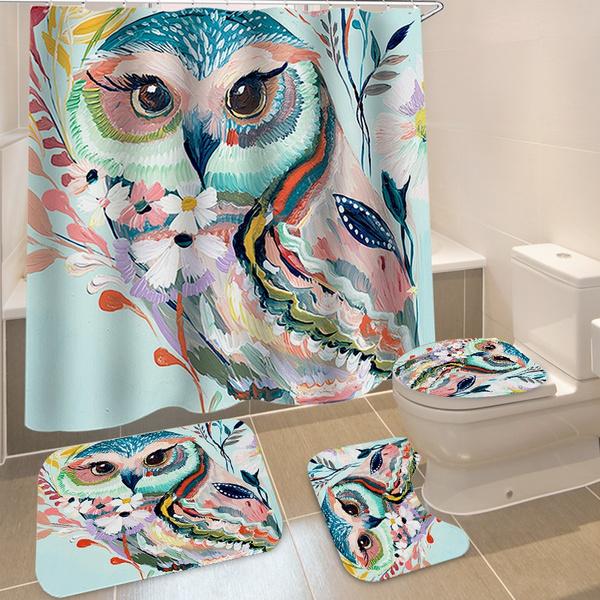 Bathroom Suit Colorful Owl Printing Waterproof Bath Non Slip Floor Mat Rug Lid Toilet Cover Set Wish