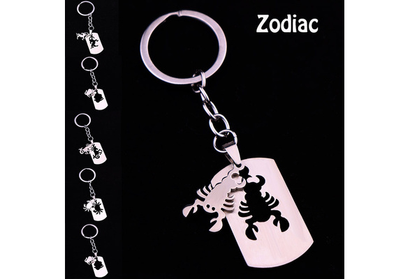 Capricorn Astrological Sign  Keychain with Constellation