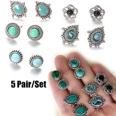 earringforwomen, Turquoise, Flowers, Jewelry