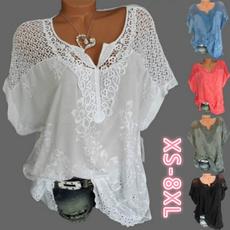 Blouses & Shirts, Lace, Women Blouse, summer t-shirts