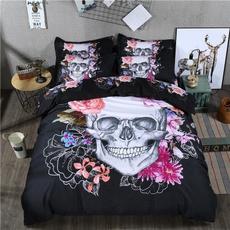 skullbedding, Flowers, Skeleton, quiltcover