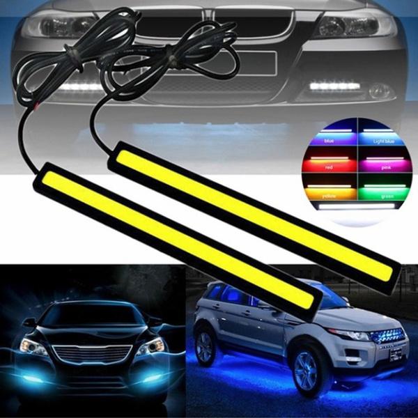 Quaant LED Car Light,2Pcs Car LED COB DRL Fog Lights Flexible Silicon IP67 Daytime Running Light Waterproof Cool White DC12V For Car Black