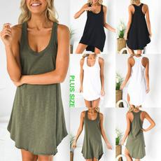 Summer, Vest, Plus Size, Pure Color