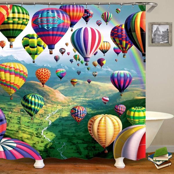Rainbow Hot Air Balloon Printing Shower, Hot Air Balloon Bathroom Decor
