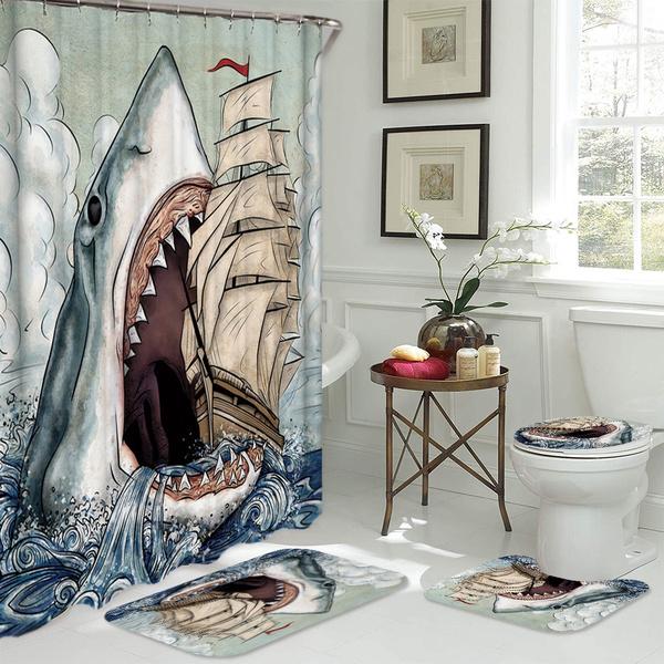 Ferocious Shark Waterproof Shower Curtain Bathroom Decor Set Non Slip Flannel Toilet Lid Cover Rugs Bath Mat Sets Wish