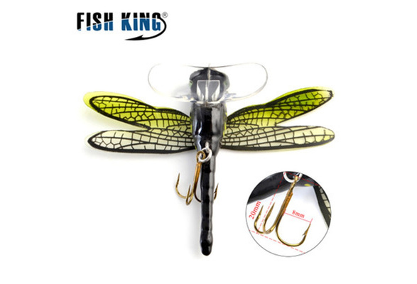 Topwater Fishing Lures Hook Floating Artificial Lures for Fresh//Salt Water Bass Lifelike Slow Sinking Aviat Dragonfly Floating Salmon Minnow Trout
