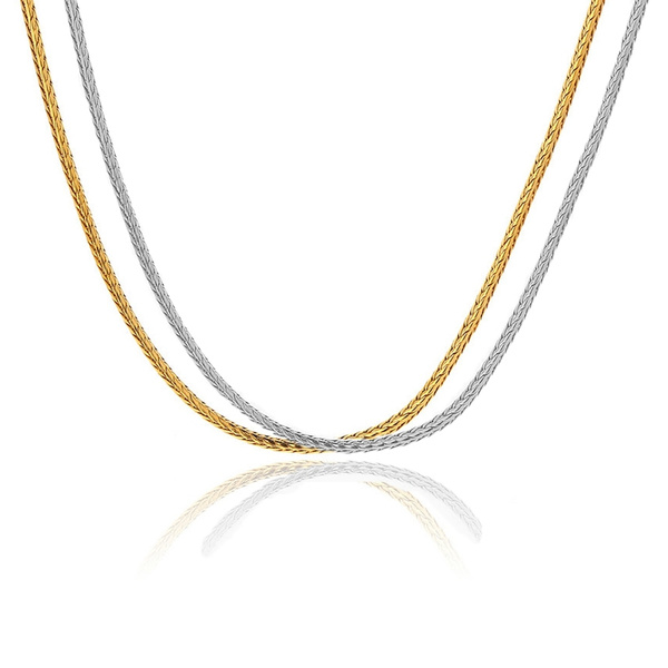 gold, Stainless Steel, Chain, gold necklace