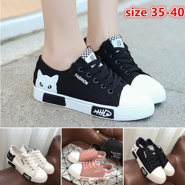 Womens Ladies Girls Cat Printed Lace Up